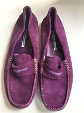 MANOLO BLAHNIK Purple Suede Leather Driving Shoes moccasin Flats Loafers Sz 37