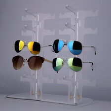 2 Row 10 Pairs Sunglasses Glasses Rack Holder Frame Display Stand Transparent HD