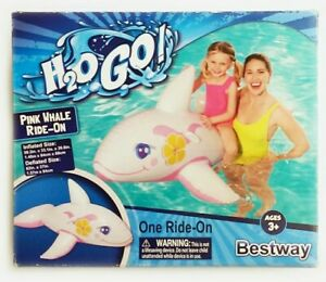 H2O Go Inflatable PINK/BLUE WHALE RIDE-ON