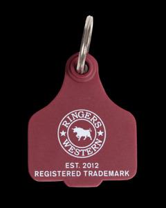 BnS Cattle Ear Tag Burgundy Key Ring Ringers Western