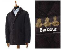 Mens BARBOUR Microfibre Polarquilt Long Jacket Coat Quilted Black Size L