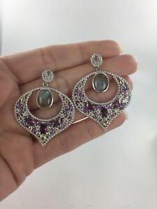 Gorgeous Genuine Rhodolite, Amethyst, Labradorite & Topaz 925 Silver Earrings