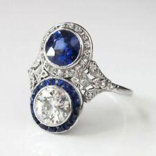 925 Silver 2 Ct White Diamond & Blue Sapphire Vintage Art Deco Engagement Ring