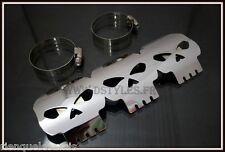 Cache pot - pare chaleur Tête de Mort Skull pour moto custom - NEUF ornement