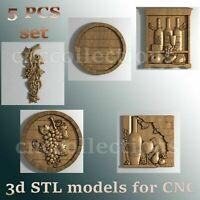 5 pcs set 3d stl models  for CNC Router Artcam Aspire