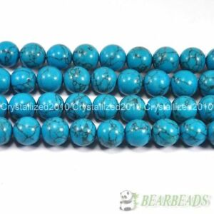 Turkey Turquoise Gemstone Round Beads 16'' 4mm 6mm 8mm 10mm 12mm 14mm 16mm 18mm