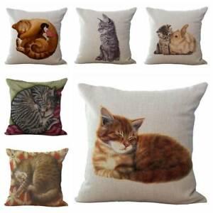 "18"" Square Sofa Pillow Cover Case Cute Cat Cotton Linen Cushion Cover Home Decor"