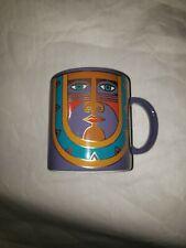 Laurel Burch Kubera Coffee Mug Tribal Mask Purple Gold Made in Japan