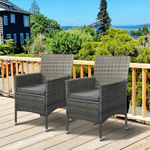 Outsunny 2 Piece Patio PE Rattan Wicker Sofa Chair Outdoor Armchair Cushioned