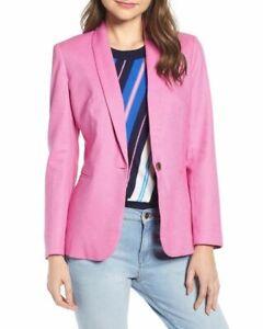 NWT $178 J. Crew Parke Stretch Linen Blend Blazer, Pink, PETITE 00