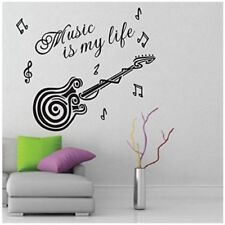 Guitar Inspiring Quote Music Is My Life Vinyl Removable Wall Sticker home decor