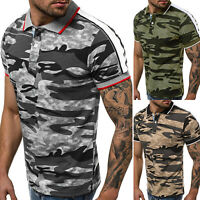 Gym Men Camouflage Short Sleeve Top Polo Shirt Summer Casual Slim Fit T-Shirt
