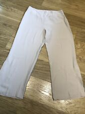 D Exterior Trousers Beige High Waisted 46 Uk 12 Flare Wide Leg Cropped Capri