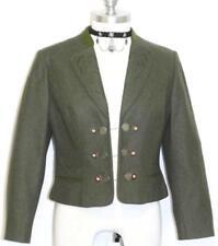 WOOL ~ GREEN German Women Short Trachten Riding Dirndl Dress Coat JACKET 42 8 S