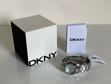 NEW! DKNY DONNA KARAN TOMPKINS SILVER DIAL STAINLESS STEEL LADIES WATCH $95 SALE