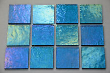 "12-1/2""x 1/2"" 3mm Transparent Iridized Turquoise Blue Bullseye Glass 90 Coe"
