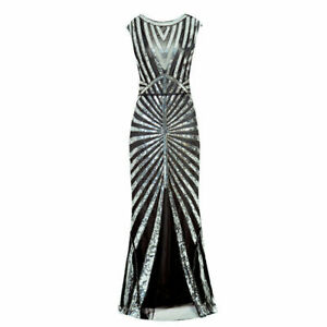 Vintage 1920s Flapper Dress Great Gatsby PROM Party Sequin Maxi Fancy Costume UK