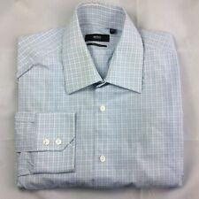 Hugo Boss medio (39/15.5) Azul/Blanco Cuadros camisa de mangas largas con logotipo Genuino Hombres