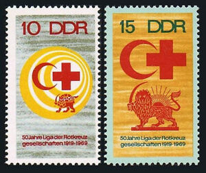 Germany DDR/GDR 1099-1100, MNH. League of Red Cross Societies, 50th anniv. 1969
