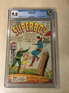 Superboy #100 CGC 9.0 VF/NM KEY ISSUE origin 1962 1ST PHANTOM ZONE VILLAINS