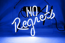 """Neon Light Neon Blue Sign Glass Home Club Party Beer Bar POSTER NO REGRETS8""""X12"""""""