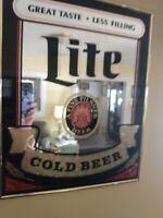 Vintage Miller Lite Beer Mirror Advertising Sign Bar Sign — 20 X 16