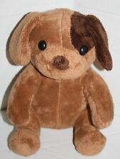 "PUPPY DOG 10"" Dark Brown Eye Patch Soft Toy Foam Plush Stuffed Tan Body Sits"
