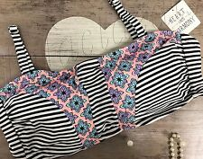 38c5fc07c8b Women s Plus Size 2X Patch Bandeau Heart   Harmony swim wear Top stripe  floral