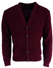Men's Burgundy Waffle Knitted Football Button Front Mod Retro Relco Cardigan