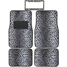 Animal Gray Snow Leopard Print Front Rear Carpet Floor Mats License Plate Frame