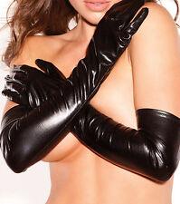 Women Lingerie Wet Look Faux Leather Evening Clubwear Opera Long Gloves Costume