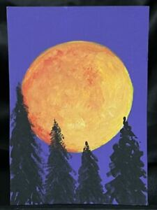 Original ACEO Strawberry Full Moon Medium Acrylic on Paper Signed By Artist