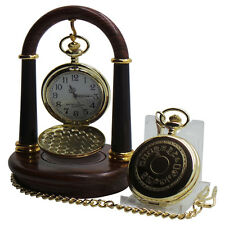 DSLR Camera Gold Pocket Watch Real Wooden Display Stand Wood Photography Dial
