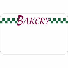 Write On Bakery Tag With Green Checks White Heat Resistant- 3 3/4 L x 2 1/4 H,