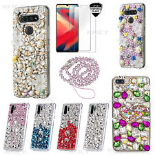 5 in 1 Bling Soft Phone Cases With Glass Screen Protector & Lanyard For Sony 2