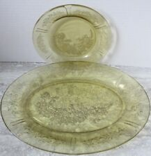 """Old Vintage Yellow Depression Glass Cabbage Rose Sharon 12 1/2"""" Platter & Plate"""