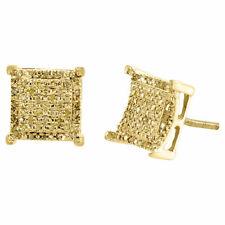 Diamante Giallo Orecchini 10K Oro Taglio Rotondo a Pavé Quadrato Design 0.25 TCW