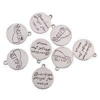 10pcs Wealth Words Beads Charms Tibetan Silver Pendant DIY Bracelet 17*17mm