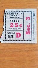 Vintage 1930's Randall Island New York Ticket Stub DeVinne Brown Corp NYC