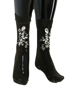 NEW $660 DOLCE & GABBANA Socks Black Stretch Floral Clear Crystal Stockings s. M