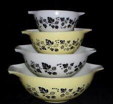 Pyrex GOOSEBERRY YELLOW & BLACK *4 PC CINDERELLA MIXING BOWL SET*#2