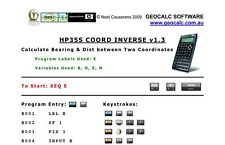 HP35S Coord Inverse Program for the HP 35S Scientific Calculator
