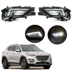 For Hyundai Tucson 2019-2020 2021 Bumper Fog Lamp LED DRL Daytime Running Lights