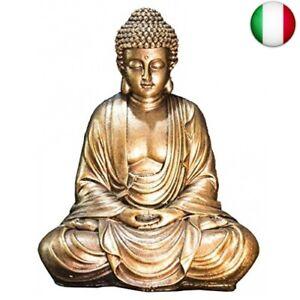 Zen'Light Statua Buddha Oro, Resina, 16 x 10 x 20 cm