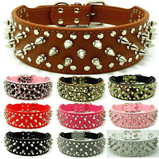 Spiked Studded PU Leather Large Pet Dog Collar Pitbull Mastiff Bully S M L XL