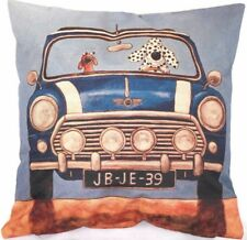 DALMATION DOG Drives Blue MINI 1 CAR Bright Colour LINEN-COTTON CUSHION COVER GB