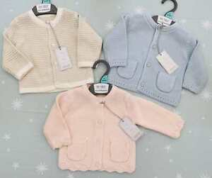 Mothercare Baby Boys Girls Cardigan Pink Blue Neutral Cotton Knitted Jacket BNWT