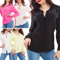 Camicia donna blusa chiffon perle gioiello maniche lunghe elegante sexy CJ-6155