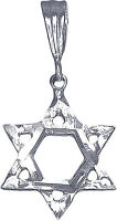 Sterling Silver Jewish Charm Star of David Pendant Necklace Diamond Cut Finish
