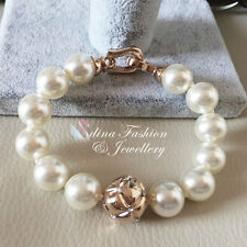 18K Rose Gold Plated Large White Round Simulated Pearl Bead Strand Bracelet